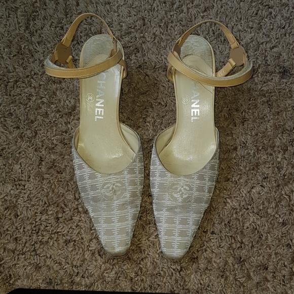 CHANEL Shoes - Chanel Beige Fabric CC Logo Slingback Sandals